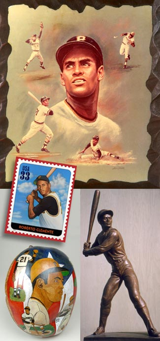 Images: Various forms of memorabilia, including paintings, stamps, and sculptures, celebrating and honoring Clemente's many achievements.